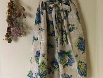 リネン100% リボンベルト 紫陽花 あなたサイズのギャザースカートの画像