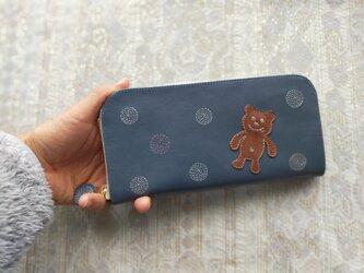 刺繍革財布『SHABON&bear』ashBLUE(牛革)ラウンドファスナー☆スリムタイプ☆の画像