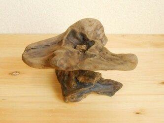 【温泉流木】花びらのように滑らかな石入り流木スタンドオブジェ 流木置き台 流木インテリアの画像