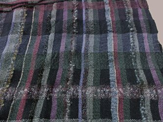 手織り 大判ショール 紫系 SHA105A 手染め 男女兼用 チェック柄 強撚糸 シルク アンゴラ モヘア プレゼントの画像