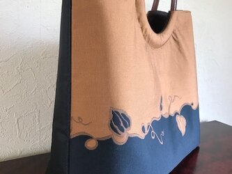 new蔦柄袋帯の手提げ 丸い木の手 の画像