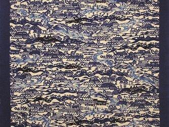 風呂敷 ふろしき    芹沢銈介 小川紙漉村文 藍色 綿100% 100cm×100cmの画像