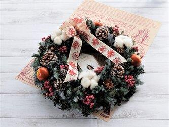 ウッドタグが選べる!!静かな森のクリスマスリース(送料込み・但し定形外郵便のみ)の画像