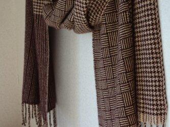 手織りカシミアストール・・バーブシュカ(カカオニブ)の画像