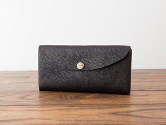日本製牛革のコンパクトな長財布SOFT / ブラック※受注製作の画像