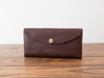 日本製牛革のコンパクトな長財布SOFT / チョコ※受注製作の画像