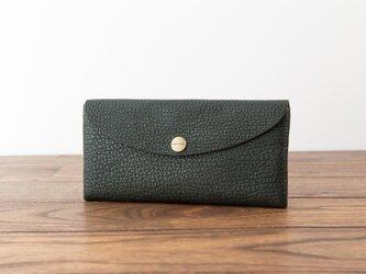 日本製牛革のコンパクトな長財布SOFT / グリーンの画像