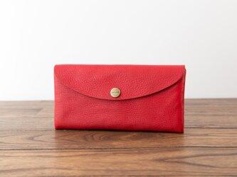 日本製牛革のコンパクトな長財布SOFT / レッド※受注製作の画像