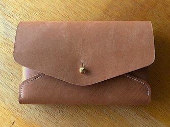 刷毛目が印象的な革のカードケース キャメル Card Caseの画像