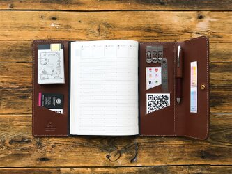 システム手帳みたいに使えるノートカバー【A5】/ 全3色 / スケジュール帳 / レザー / 名入れの画像