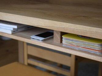 オーク(どんぐりの木) 棚付きダイニングテーブルW180 ウレタン塗装の画像