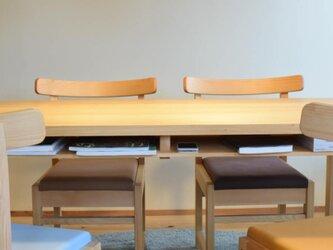 ヒノキ 棚付きダイニングテーブルW140 ウレタン塗装の画像