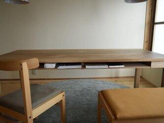 オーク(どんぐりの木) 棚付きダイニングテーブルW140 ウレタン塗装の画像