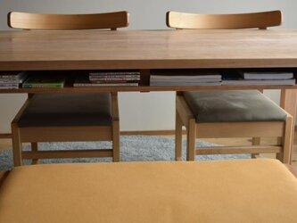 サクラ(チェリー) 棚付きダイニングテーブルW140 ウレタン塗装の画像