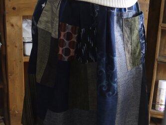 久留米絣反物からパッチギャザースカートの画像