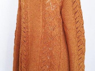 ☆サマーセール☆ 透かし模様のウール長袖チュニックセーター(杢カラシ)の画像