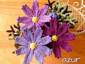 コスモスのコサージュ 紫系の画像