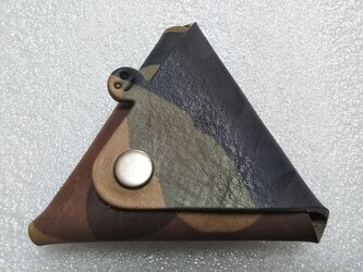 【ご予約品・カモフラ】ちょっと突き出た三角コインケース(イニシャル刻印サービス)new!の画像