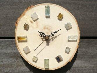 白樺とガラスタイルの掛け時計 1010 掛時計の画像