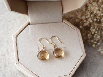 【K18】ボリビア産宝石質シャンパンクォーツ(天然シャンパンシトリン)一粒ピアスの画像