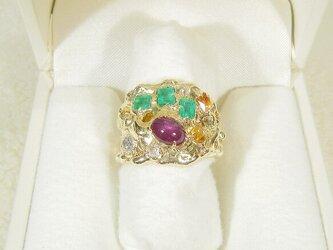 ルビー、エメラルド、シトリン、再生ダイヤモンドとSV925の指輪(リングサイズ:8.5号、サイズ変更可、天然石)の画像