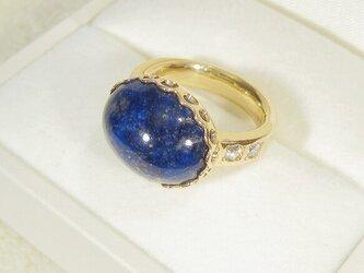 16×12mmラピスラズリと再生ダイヤモンド、SV925の指輪(リングサイズ:11.5号、K18厚メッキ)の画像