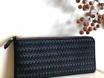 【メッシュ パールブラック】牛革のスリムな長財布 L字型 の画像