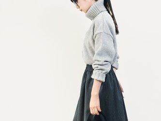 秋冬 ウォッシャブル ウール 黒 グレー ストライプ ロングスカート ●IRENE●の画像