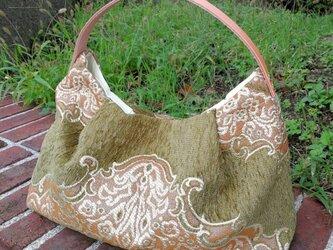日本国内から発送☆ モロッコ ファブリック カーキ & ワンハンドルレザー  コロンとかわいいバッグの画像