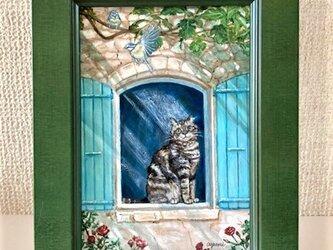 ポストカードサイズ、猫【楽しみ】の画像