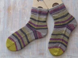 スペイン製毛糸で編んだボーダーソックス22.5~23.0センチの画像