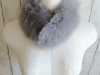¶ new antique fur ¶ グレーフォックスマグネット留めショールマフラーの画像