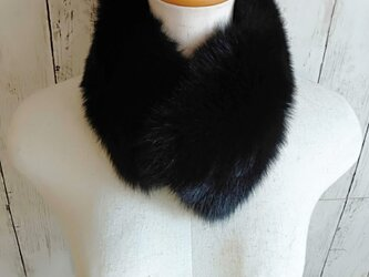 ¶ new antique fur ¶ ブラックフォックスマグネット留めショールマフラーの画像