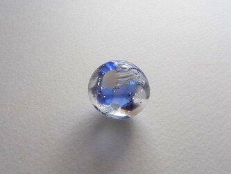 くらげ球・サファイア色・ガラス製・とんぼ玉の画像