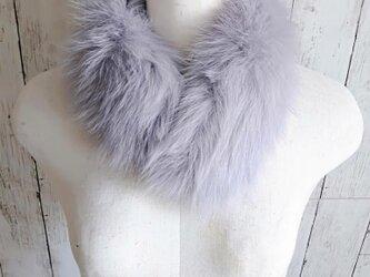 ¶ new antique fur ¶ ブルーグレーフォックスマグネット留めショールマフラーの画像