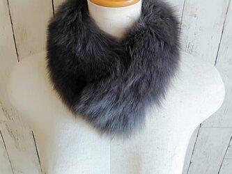 ¶ new antique fur ¶ ダークグレーフォックスマグネット留めショールマフラーの画像
