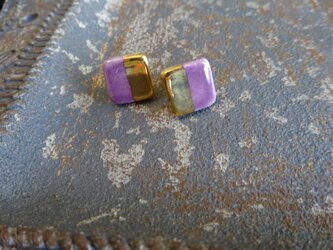 金彩square twin color ピアス/イヤリング (紫)の画像