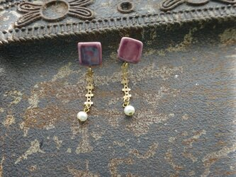 淡水パールのswing陶pierce/earring(紫)の画像