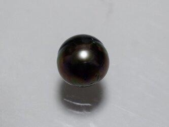大粒 バロック黒蝶真珠 1粒 10.5~12.5mm 片穴 無穴 タヒチパール ラウンド ピーコック系 グリーンの画像
