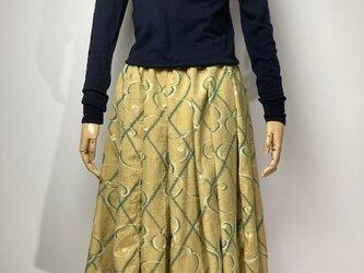 【着物リメイク】タック&ギャザースカート/カラシ地にグリーン・オフ白抽象柄の画像