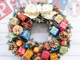 プレゼントがいっぱい~!!(大き目サイズのクリスマスリース・送料込み)の画像