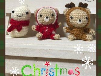 ♪クリスマスくまさん&トナカイさん&雪だるまの編みぐるみセット♪の画像