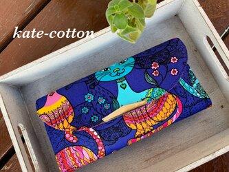 ■軽い長財布⭐︎カラフルなネコ柄・USAコットンの画像