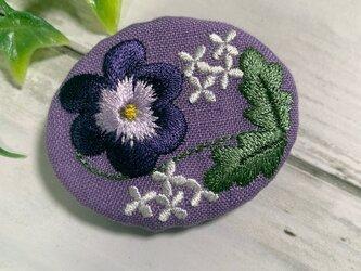 刺繡ブローチ パンジー リネンの画像