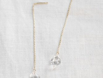Herkimer Diamond Chain Earrings ハーキマーダイヤモンドのアメリカンピアス K10YG の画像