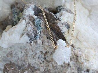 Druzy Quartz Necklace ドゥルジークォーツの原石ネックレス w/14KGFの画像