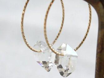 Herkimer Diamond Hooped Earrings ハーキマーダイヤモンドの縄目フープピアス 14KGFの画像