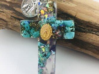 イタリア製リバーシブル輸入メダイ  付き マリアのクロスオルゴナイトペンダントの画像