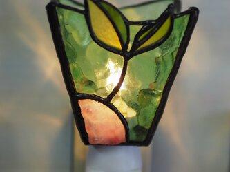 「おやすみランプ・双葉」ステンドグラスランプ フットランプの画像