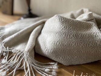 手織りオーバーショットカシミヤショール クラッシックホワイトの画像